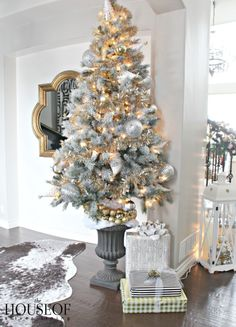 A Christmas tree decorated with party hats! Think outside the box when styling your tree!
