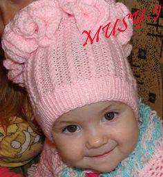 шапочки для детей с рюшами спицами