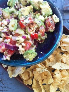 Avocado Feta Salsa Ingredients:  2 plum tomatoes   1/4 cup red onion, chopped  1 tablespoon olive oil  1 tablespoon red or white wine vinegar 1 tablespoon oregano (dried)  1 tablespoon parsley   1 clove chopped garlic (or 2…I love garlic)  4 ounces feta cheese, crumbled  2 avocados, cubed  Mix all ingredients, gently folding in avocado last.