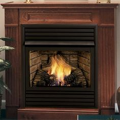 Ventless Gas Fireplace - Monessen Hearth Saver 32 inch Ventless Gas Fireplace - Remote Ready - with Wall Surround and Hearth Vent Free Gas Fireplace, Fireplace Glass Doors, Natural Gas Fireplace, Propane Fireplace, Fireplace Hearth, Fireplace Inserts, Contemporary Fireplace Designs, Traditional Fireplace, Gas Logs