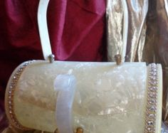 Creamy White Pearlized Round Lucite Purse with Intricate Jeweled Rhinestones and Small Silver Beads!! Stunning!! (b19)