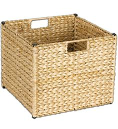 This Collapsible Wicker Storage Basket has built-in handles is hand-woven from rush grass and has an attractive honey finish for a stylish look.