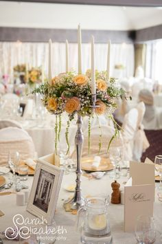 Wedding Breakfast room set up at Rufflets House Hotel. Ivory and lace linens, peach and green florals, vintage theme. www.zenith-events.co.uk