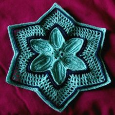 """Blue 6-pointed STAR - Lt Turquoise with Navy Accents - #Handmade #Holiday Decor by @rssdesignsfiber of RSSDesignsInFiber - Crochet  ~~~ For #Hanukkah or whatever #Holiday you choose - some call it the """"Bethlehem Star""""!"""