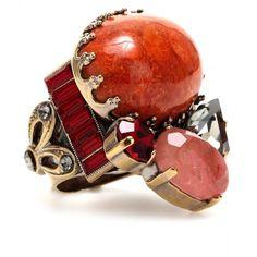 Emilio Pucci Coral And Quartz Ring found on Polyvore