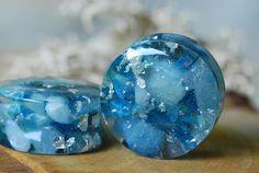 Stone Plugs Blue Gauges Gemstone Plugs Crystal Resin Plugs