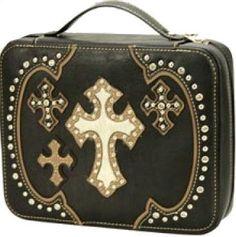 (MWFBDC001BK) Western Crosses Bible Cover - Black