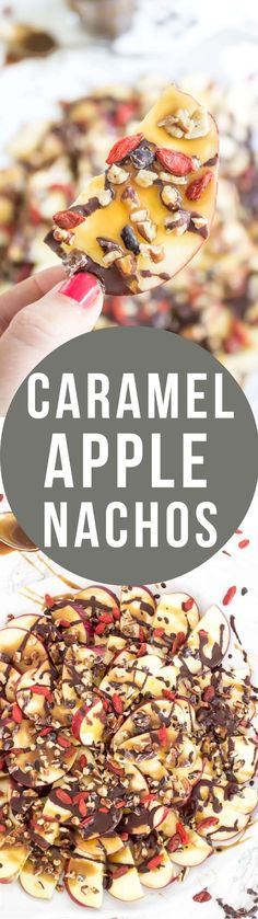 Caramel Apple Nachos - dairy free, refined sugar free, and loaded with fun superfood toppings!