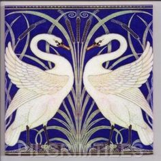 "Arts & Crafts Walter Crane ""Swans"" Tiles / Plaque / Fireplace  Bathroom  Kitchen"