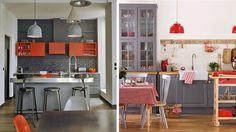 cuisines rouge et grise style bistrot