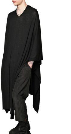 Rick Owens Light Merino Knit Poncho Sweater in Black for Men