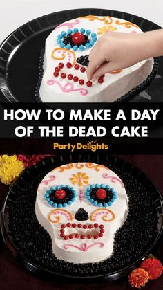 Throwing a Day of the Dead party? Follow our easy baking tutorial to find out how to make a Day of the Dead cake - an easy Halloween party food idea that will definitely impress your guests!