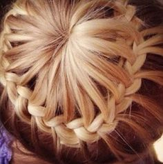 This is called the crown braid and its a super cute braided updo!