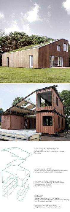 large, spacious, and undercover outdoor areas, another shipping container home this provides less natural light but would make a cheap, easily constructed farm house. With plenty of storage for equipment and ample living spaces. The colours for this house blend with the grass surrounding it and the trees around it. If you like Duct Tape please follow our boards!