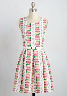 France-y Seeing You Here Dress. Its always a delight to spy you flaunting this ivory A-line! #multi #modcloth