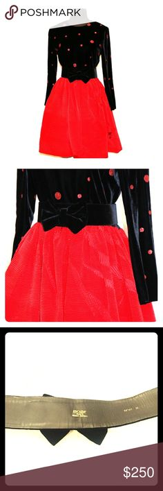 """Vintage Escada by Margaretha Ley Be the center of attention in vintage Escada!!  Presenting a luxurious black velvet and red taffeta Escada dress with long sleeves. The soft velvet bodice has red glitter polka-dots  playfully scattered on the front and back of this masterpiece.  Accented by a poof of bright red taffeta bubble hem skirt and an optional velvet bow belt, also marked Escada, this dress demands a special night on the town!   Measurements:  bust: 34""""  shoulder to shoulder: 16""""…"""