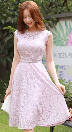 StyleOnme_Floral Lace Flared Dress #pink #floral #lace #koreanfashion #kstyle #kfashion #dress #feminine #dailylook #summertrend
