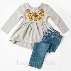 Mimi and Maggie Girls Grey Embroidered Flower Tunic **AVAILABLE FOR PREORDER**
