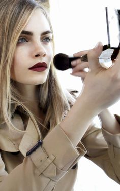 Cara Delevingne on set at the Burberry Beauty Lip Velvet campaign shoot