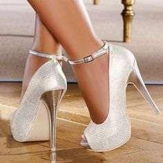 Women's Style Pumps Silver Wedding Shoes Glitter Ankle Strap Platform Heels Peep Toe Shoes Fall Fashion 2017 Fall Outfits Women Fall Fashion Wedding Dresses Shoes Mermaid Wedding Dress Heels For Party for Party, Big day, Anniversary Silver Heels Prom, Glitter Wedding Shoes, Wedding Shoes Heels, Prom Heels, Ankle Strap Heels, Pumps Heels, Stiletto Heels, Ankle Straps, High Heels