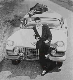 ♡♥Elvis Presley traveling with his guitar on the hood takes a break in front of his pink cadillac♥♡