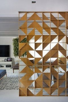 20 DIY Room Divider Ideas and Designs - ChecoPie How to make some sort of partition wall structure: Divider Design, Door Design, House Design, Divider Ideas, Wooden Wall Design, Living Room Partition, Room Partition Designs, Room Divider Walls, Diy Room Divider