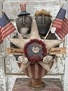 Americana Folkart and Primitive Black Uncle Sam & Liberty Doll Make-Do-SPPO Liberty & Justice Primitive Folk Art, Primitive Patterns, Primitive Crafts, Tinsel Garland, Living Vintage, Ann Doll, Sam And Libby, Rustic Crafts, Patriotic Decorations