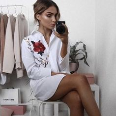 @lissyroddyy in our 'Kate' Oversized Floral Embroidered Shirt   Rebellious Fashion