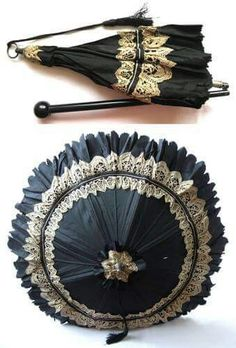 Antique Mid Victorian Black Silk Wood Lace Carriage Parasol Umbrella This is a particularly beautiful example. Victorian Steampunk, Victorian Era, Victorian Fashion, Vintage Fashion, Historical Costume, Historical Clothing, Vintage Accessories, Fashion Accessories, Vintage Umbrella