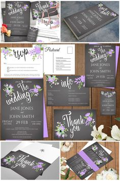 Are you searching for the perfect lilac and grey wedding invitation suite? Then look no further, this stunning set is where it's at. A rustic muted grey chalkboard like background with beautiful lilac floral decoration and chalky white text make up this 6 piece wedding suite. #bluesclerauk #weddingsuk #weddingsuite #weddinginvitations