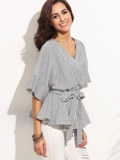 Shop Black And White Stripe Bow Wrapped Blouse online. SheIn offers Black And White Stripe Bow Wrapped Blouse & more to fit your fashionable needs.