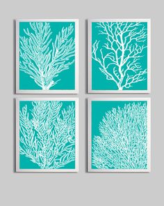 Coral Ocean Beach Sea Prints Tiffany Blue White Custom Colors - Gender Neutral Nursery Beach Theme