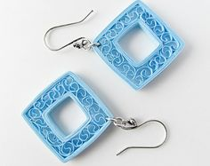 Paper jewelry – Sky blue kites, paper quilled earrings