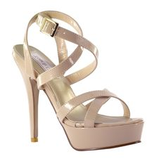 "Nude Black or Silver Strappy 4.5"" Heel Formal Prom Platform Sandal Women's Shoes #Touchups #Stilettos"