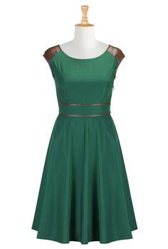 Faux Leather Trim Dresses, Plus Size Fit-&-Flare Dresses Womens stylish dress | Party Dresses | Women´s Going Out Dresses | eShakti.com