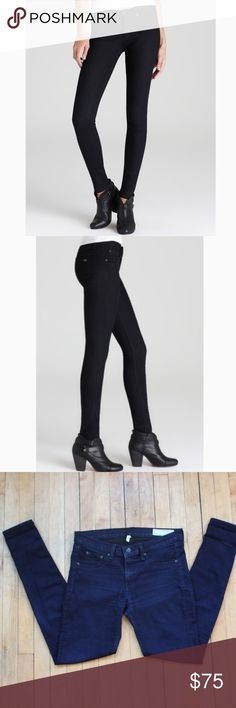 """RAG & BONE Midnight Blue Legging Jeans Super soft and stretchy dark midnight blue wash legging jeans from rag & bone. Women's size 29. -Black hardware, tonal stitching -Front pocket silhoutte -2 back pockets with classic embroidered logo on the right -66% cotton, 30.5% polyester, 3.5% lycra  Excellent, pre-owned condition. No obvious signs of wear and no damages.  Approximate measurements: -Waist flat across 16"""" -Hips 34.5"""" -Inseam 30"""" -Front rise 8.5"""" -Back rise 14"""" -Leg opening 9"""" rag…"""