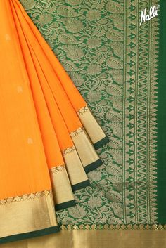 So this weekend, we bring to you a choice collection of Kanchipuram Sarees! Check out this Orange Kanchipuram Silk Saree with Zari butta on body and Zari border.