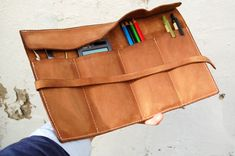 Personalized leather pencil case wrap, tool bag roll ,pencil organizer,tool organizer ,makeup case .    His Organizer is available with up to 2-