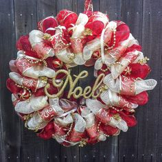 Red and Gold Christmas Deco Mesh Wreath with by Hangingonamemory