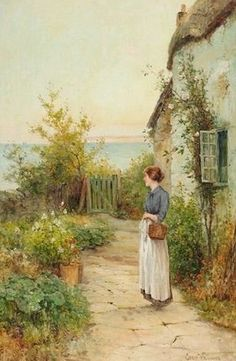 """""""A Lady in her Garden"""" by Ernest Walbourn English Landscape Painter of Rural & Farming Scenes . Classic Paintings, Old Paintings, Beautiful Paintings, Artistic Visions, Arte Country, Garden Of Earthly Delights, Knight Art, Flower Images, Garden Art"""