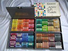 Very Nice Grumbacher Artists Soft Pastels, Huge Vintage Set of 192 Soft Pastels