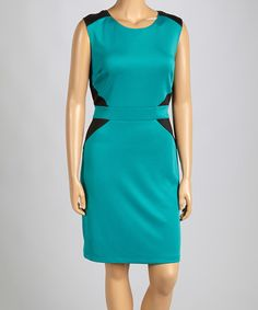 Look what I found on #zulily! Teal & Black Color Splice Sheath Dress - Plus by AA Studio #zulilyfinds