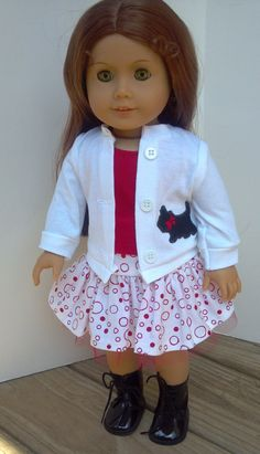 These are handmade items made to fit the 18 American Girl doll. The items are made of cotton blend fabrics. The skirt has an elastic waist
