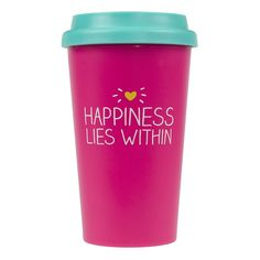 This bright pink Happiness Lies Within Travel Cup with silicone lid will keep your hot drinks warm on the go! 3 x 14 oz. capacity Double-walled Plastic Hand wash Not microwave or dishwasher safe Happy Jackson for Wild & Wolf Cool Gifts, Unique Gifts, Quirky Gifts, Harvey Norman, Travel Cup, Nice Travel, Best Gifts For Her, Fancy, Gadget Gifts