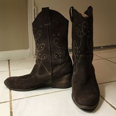 Brown suede cowboy boots Originally $50, lightly worn, soft Envy Shoes Heeled Boots