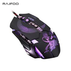 RAJFOO Mute Gaming Mouse 3200DPI with 4 Level Adjustment 4 Color