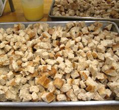 not quite ready for the oven fresh made from scratch whole grain croutons...