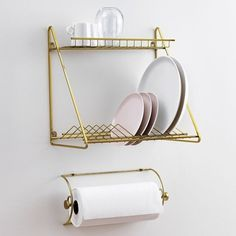 rack: Hanging Dish Drying Rack Bedroom Elegant White Water Tray Wooden And Also Interesting Wall Mounted South Africa: hanging dish drying rack Kitchen Solutions, Dish Rack Drying, Paper Towel Holder, Home, Gold Paper, Kitchen Dishes, Drying Rack, Plate Racks, Rack