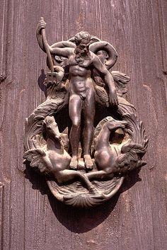 mythologer:  detail: Poseidon - Venetian Door Knocker.