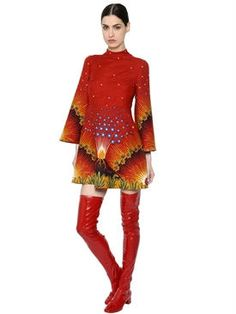valentino - women - dresses - volcano wool & silk crepe couture dress